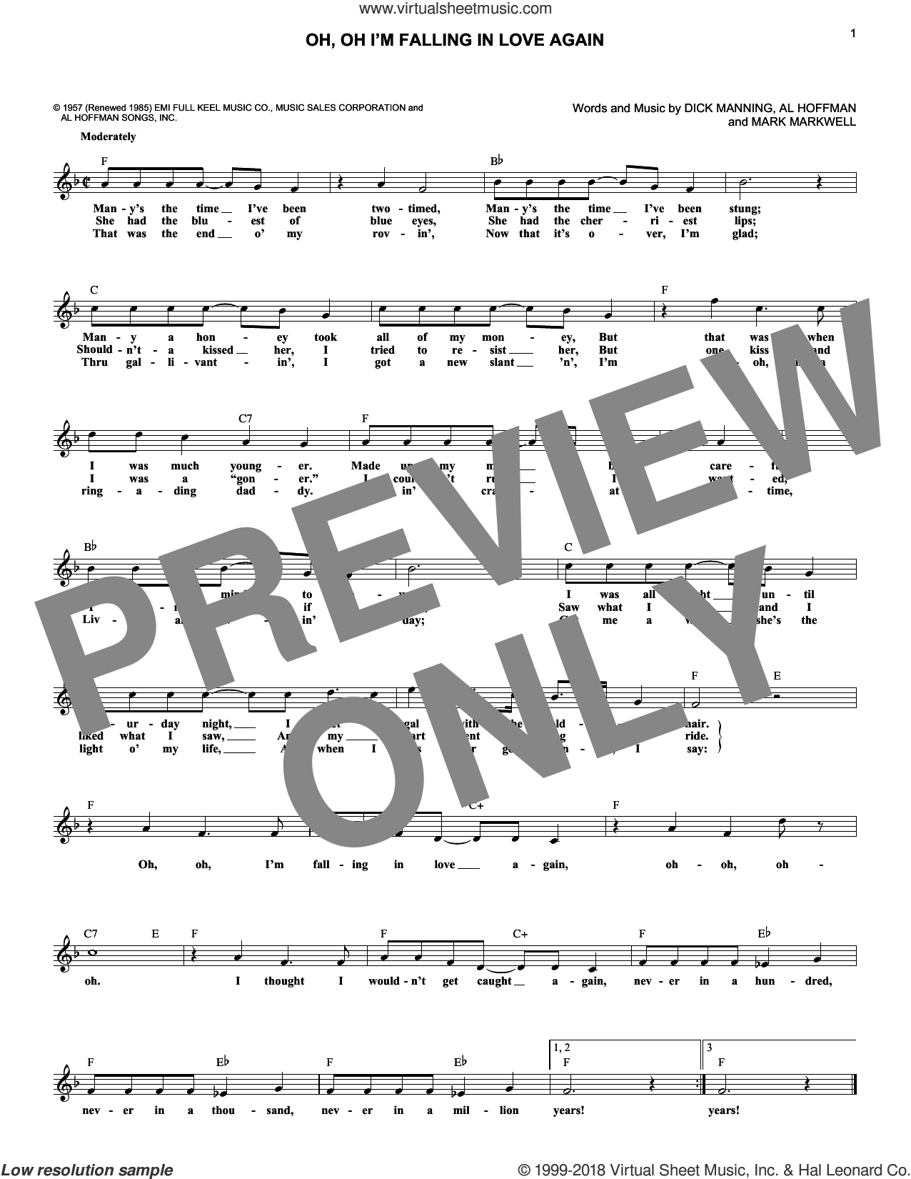 Oh, Oh I'm Falling In Love Again sheet music for voice and other instruments (fake book) by Mark Markwell, Jimmie Rodgers, Al Hoffman and Dick Manning. Score Image Preview.