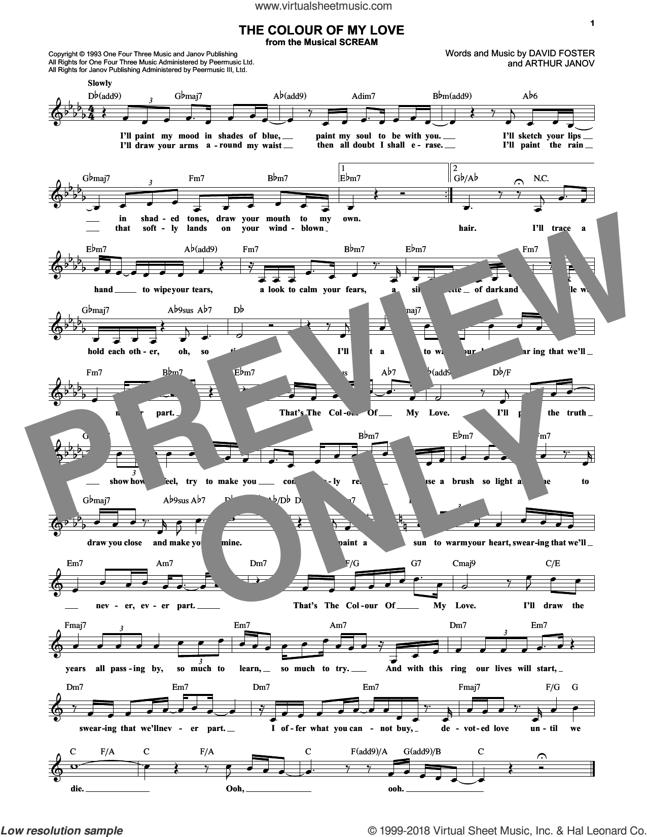The Colour Of My Love sheet music for voice and other instruments (fake book) by Celine Dion, Arthur Janov and David Foster, intermediate skill level