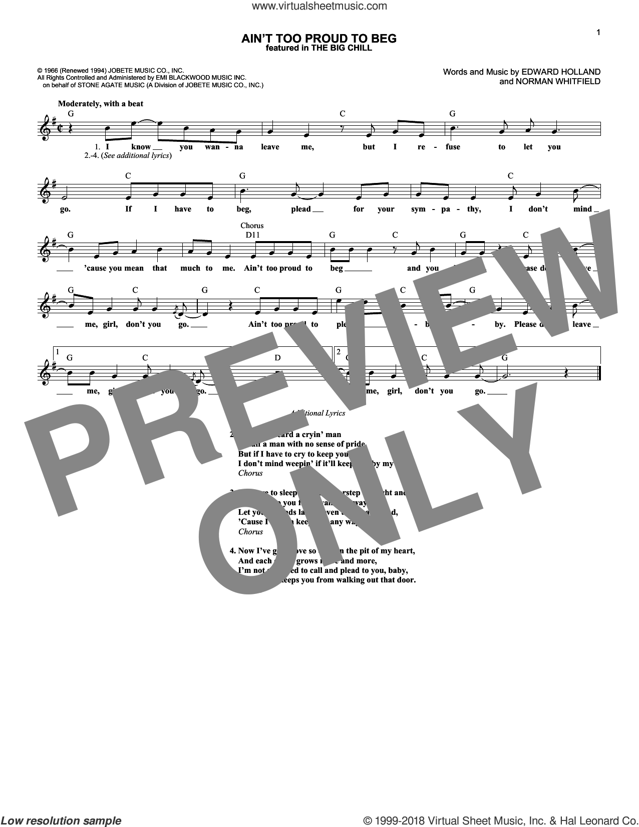 Ain't Too Proud To Beg sheet music for voice and other instruments (fake book) by Norman Whitfield, The Rolling Stones and The Temptations. Score Image Preview.