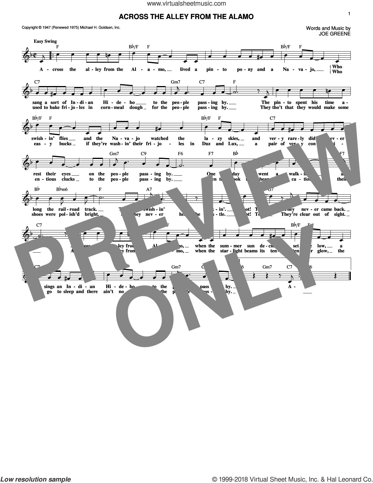 Across The Alley From The Alamo sheet music for voice and other instruments (fake book) by Joe Greene