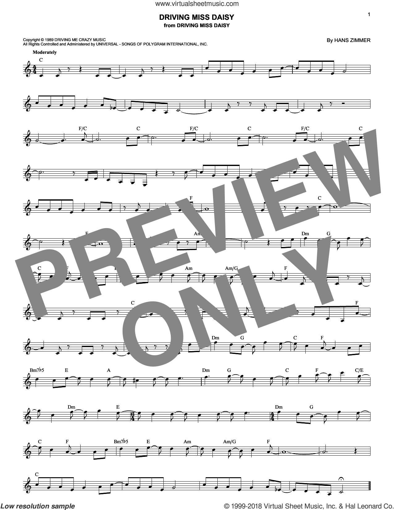 Driving Miss Daisy sheet music for voice and other instruments (fake book) by Hans Zimmer. Score Image Preview.
