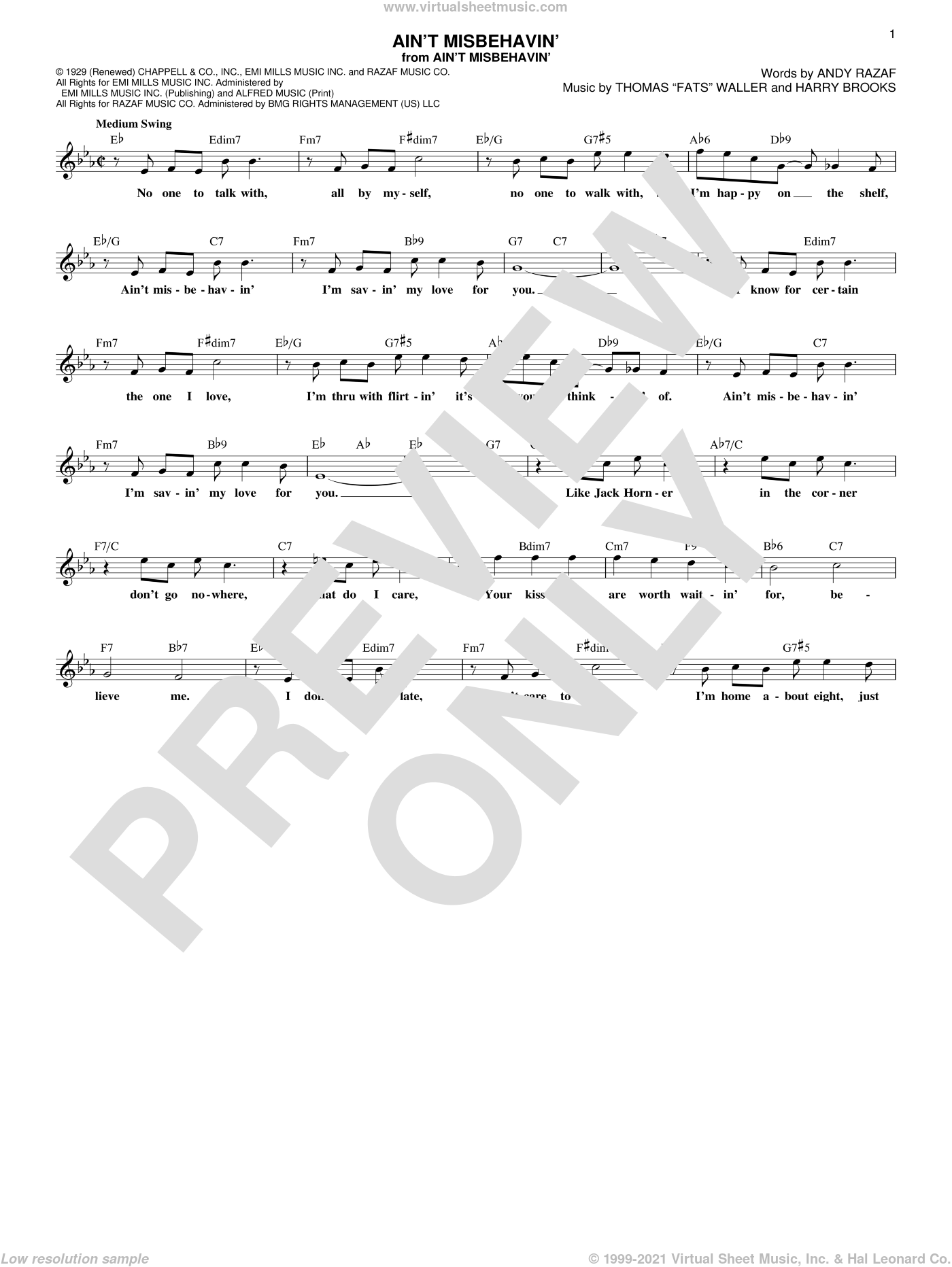 Ain't Misbehavin' sheet music for voice and other instruments (fake book) by Andy Razaf, Hank Williams, Jr., Thomas Waller and Harry Brooks, intermediate skill level
