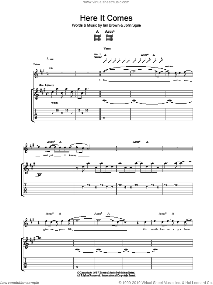 Here It Comes sheet music for guitar (tablature) by Ian Brown and John Squire. Score Image Preview.