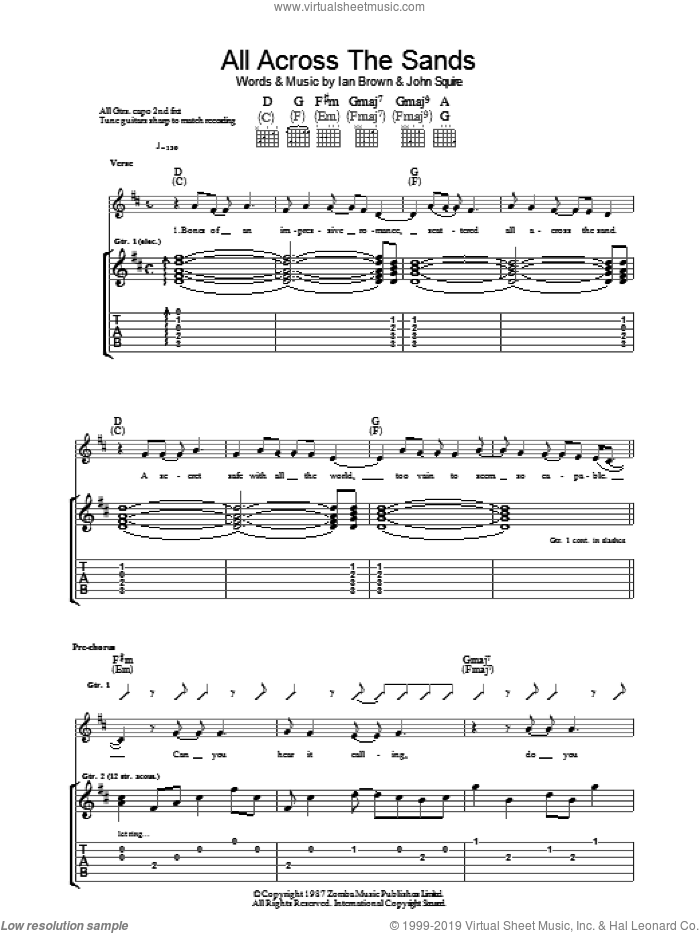 All Across The Sands sheet music for guitar (tablature) by Ian Brown and John Squire. Score Image Preview.