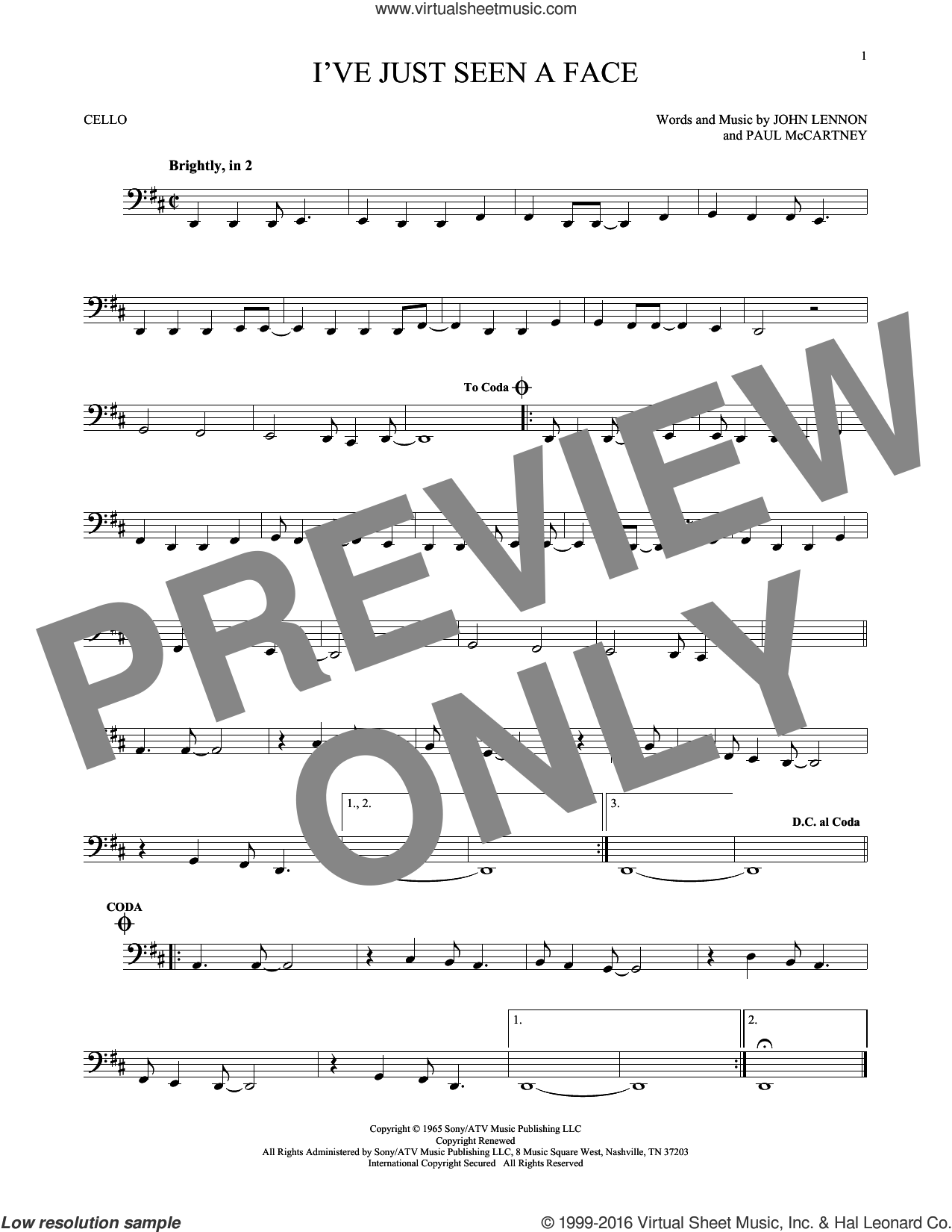 I've Just Seen A Face sheet music for cello solo by The Beatles, John Lennon and Paul McCartney, intermediate cello. Score Image Preview.