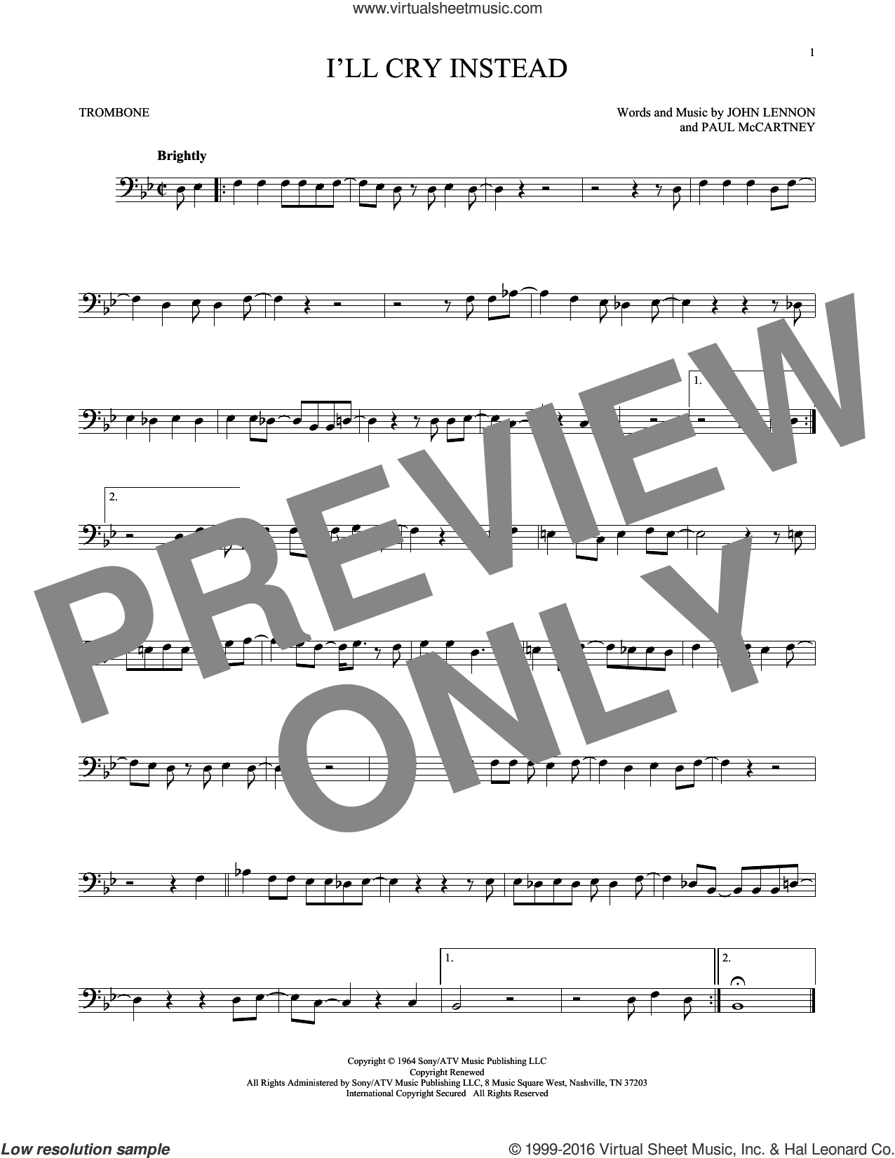 I'll Cry Instead sheet music for trombone solo by The Beatles, John Lennon and Paul McCartney, intermediate trombone. Score Image Preview.