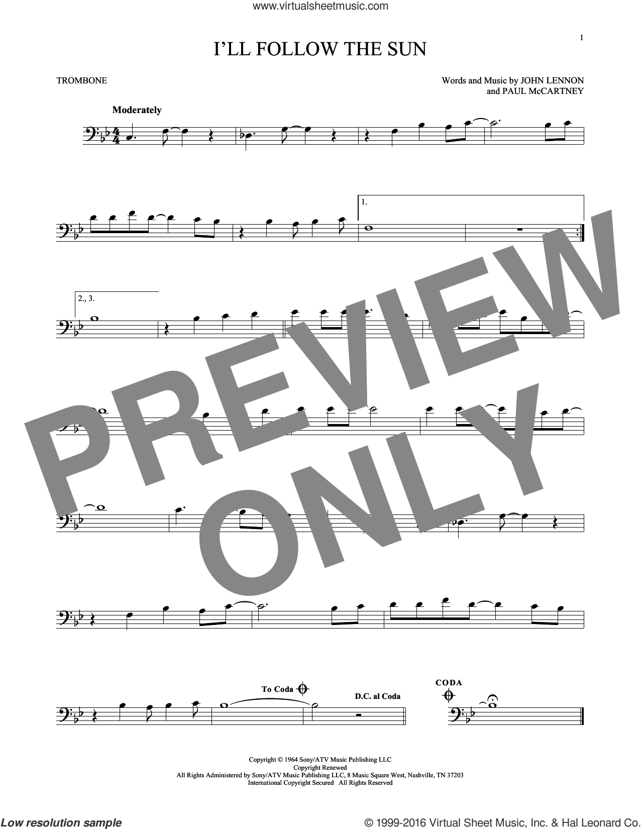I'll Follow The Sun sheet music for trombone solo by The Beatles, John Lennon and Paul McCartney, intermediate skill level
