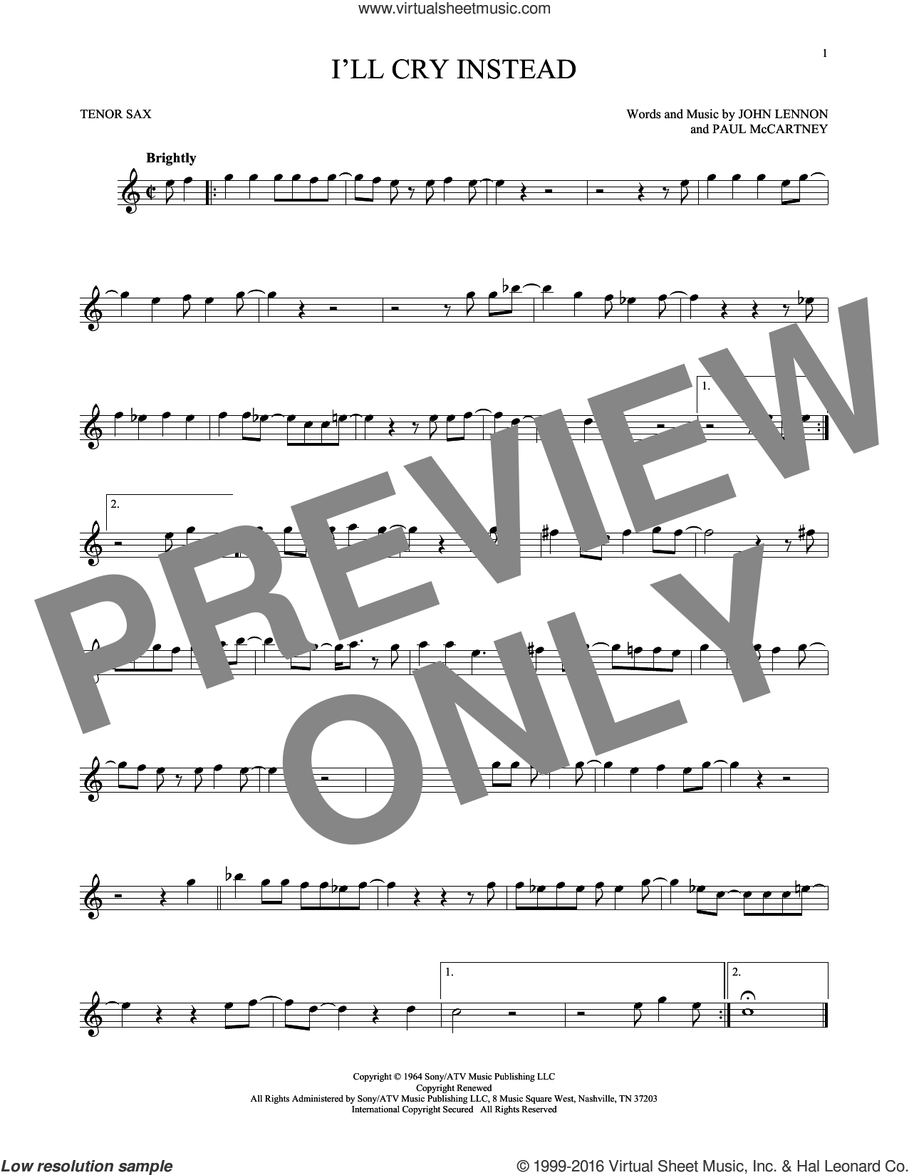 I'll Cry Instead sheet music for tenor saxophone solo by Paul McCartney