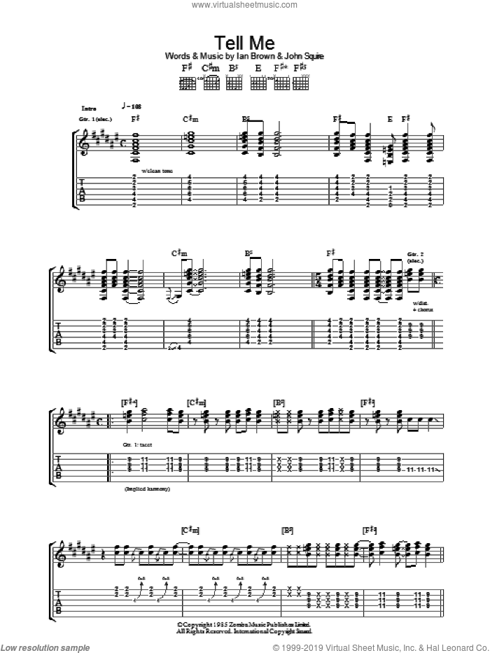 Tell Me sheet music for guitar (tablature) by Ian Brown and John Squire. Score Image Preview.