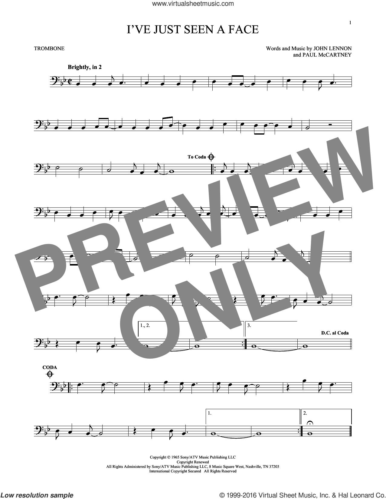 I've Just Seen A Face sheet music for trombone solo by The Beatles, John Lennon and Paul McCartney, intermediate trombone. Score Image Preview.