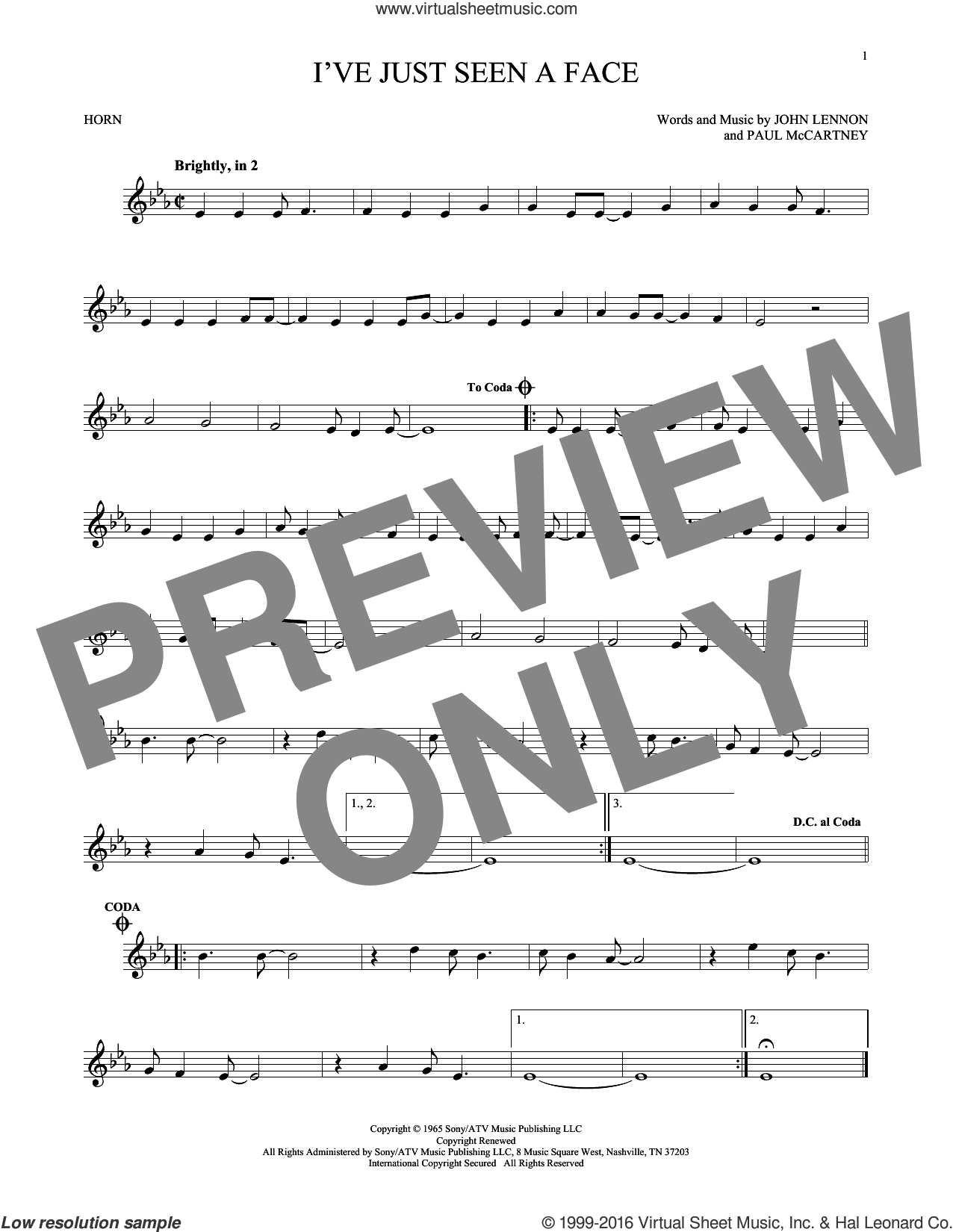 I've Just Seen A Face sheet music for horn solo by The Beatles, John Lennon and Paul McCartney, intermediate skill level