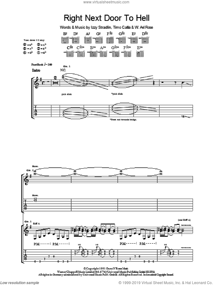 Right Next Door To Hell sheet music for guitar (tablature) by Guns N' Roses, Axl Rose and Izzy Stradlin, intermediate. Score Image Preview.