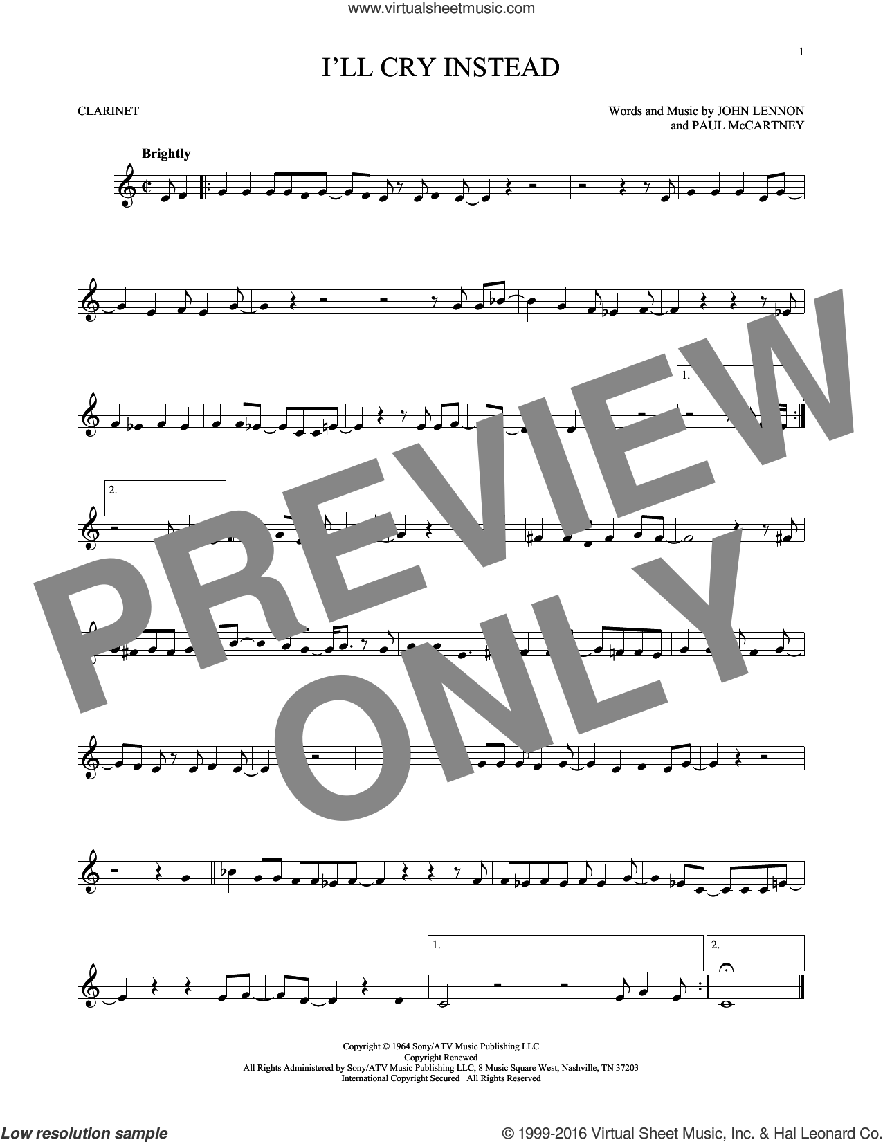 I'll Cry Instead sheet music for clarinet solo by Paul McCartney, The Beatles and John Lennon. Score Image Preview.