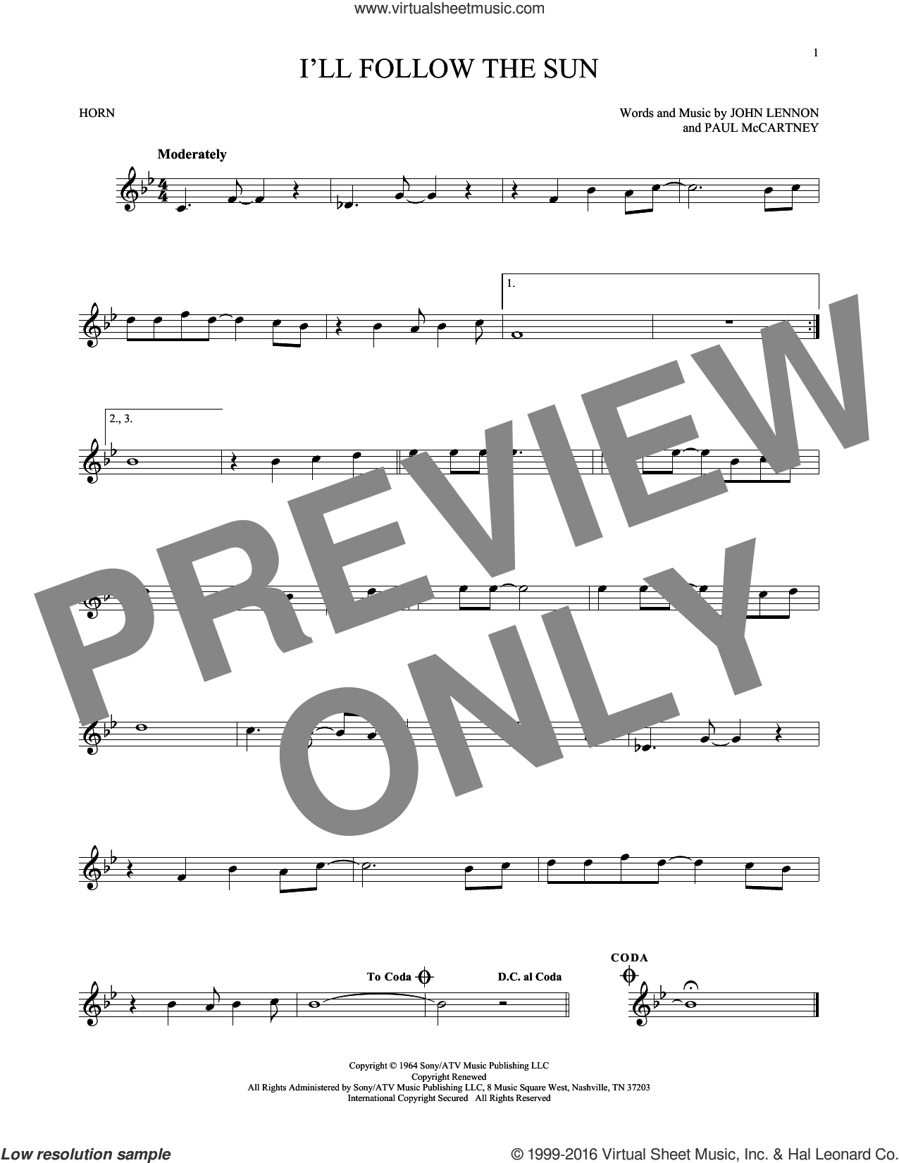 I'll Follow The Sun sheet music for horn solo by Paul McCartney, The Beatles and John Lennon. Score Image Preview.
