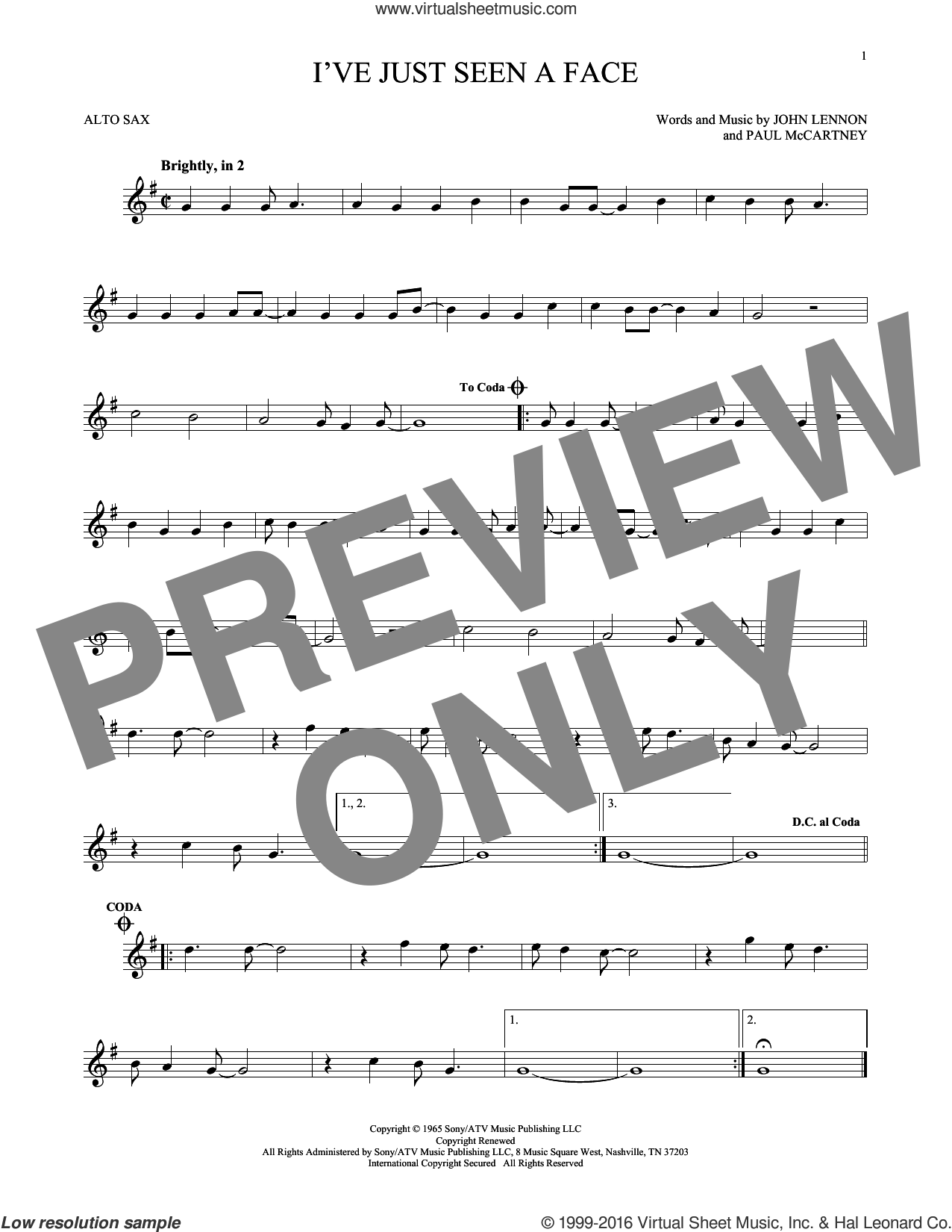 I've Just Seen A Face sheet music for alto saxophone solo by The Beatles, John Lennon and Paul McCartney, intermediate alto saxophone. Score Image Preview.