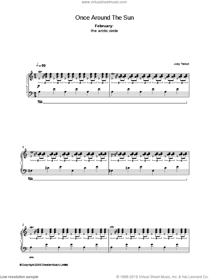 February (from Once Around The Sun) sheet music for piano solo by Joby Talbot. Score Image Preview.
