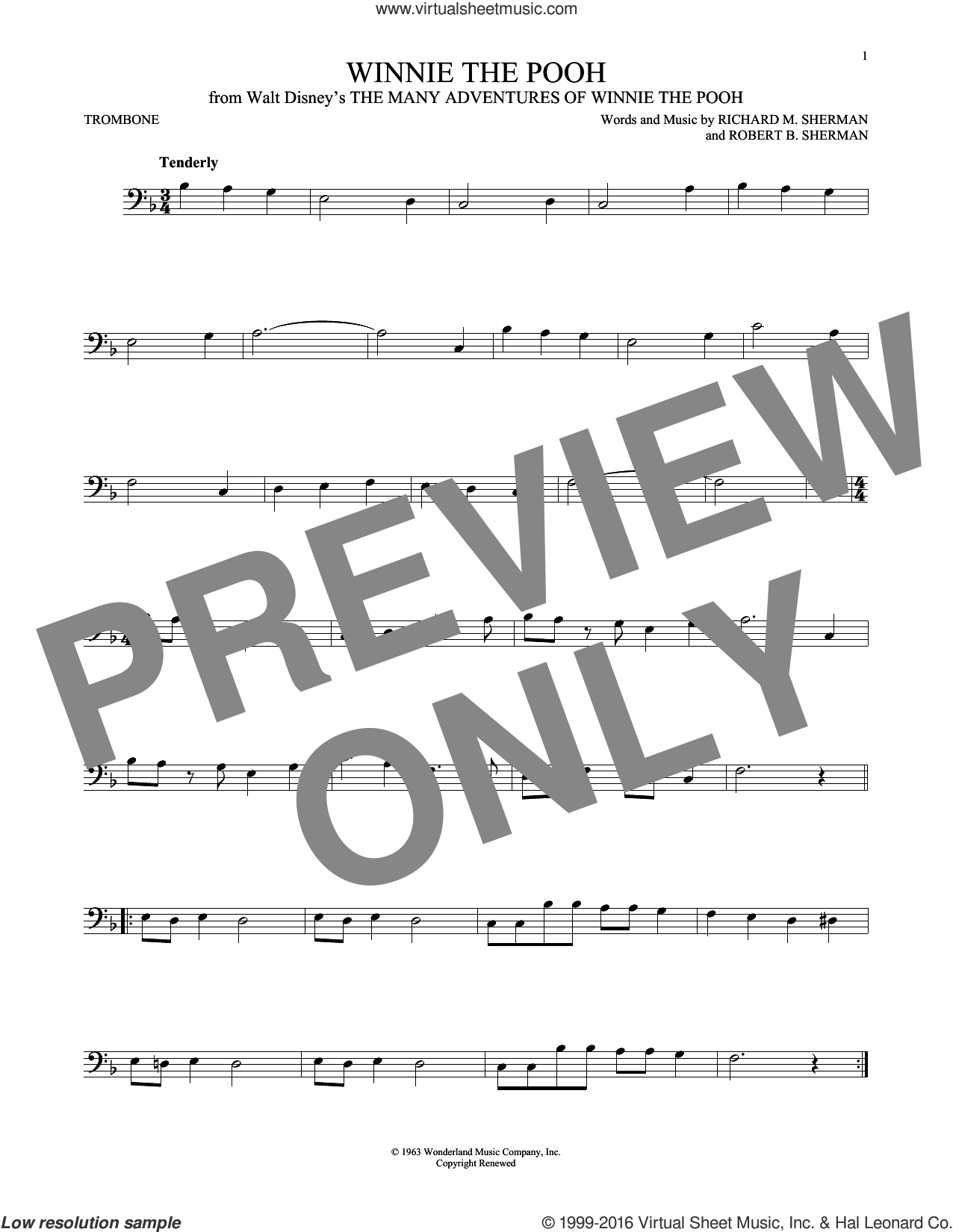 Winnie The Pooh sheet music for trombone solo by Richard M. Sherman and Robert B. Sherman, intermediate skill level