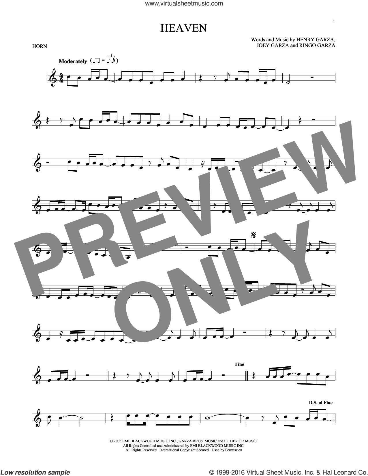 Heaven sheet music for horn solo by Los Lonely Boys, intermediate horn. Score Image Preview.