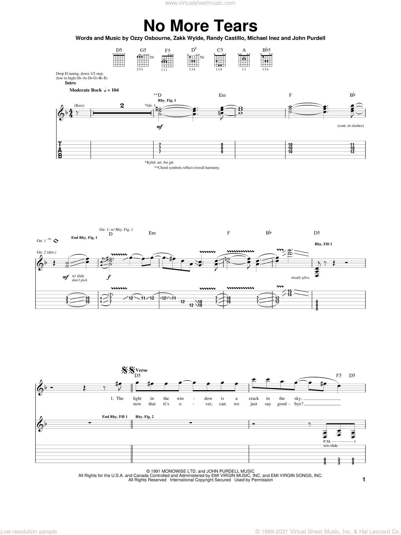 No More Tears sheet music for guitar (tablature) by Ozzy Osbourne. Score Image Preview.