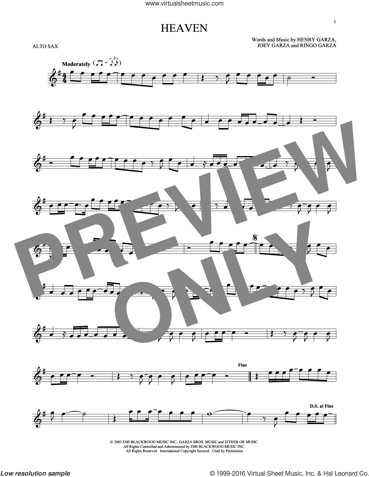 Heaven sheet music for alto saxophone solo by Los Lonely Boys, intermediate. Score Image Preview.