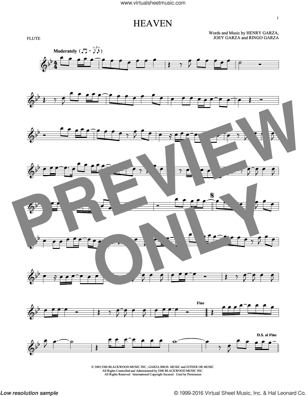Heaven sheet music for flute solo by Los Lonely Boys, Henry Garza, Joey Garza and Ringo Garza, intermediate skill level