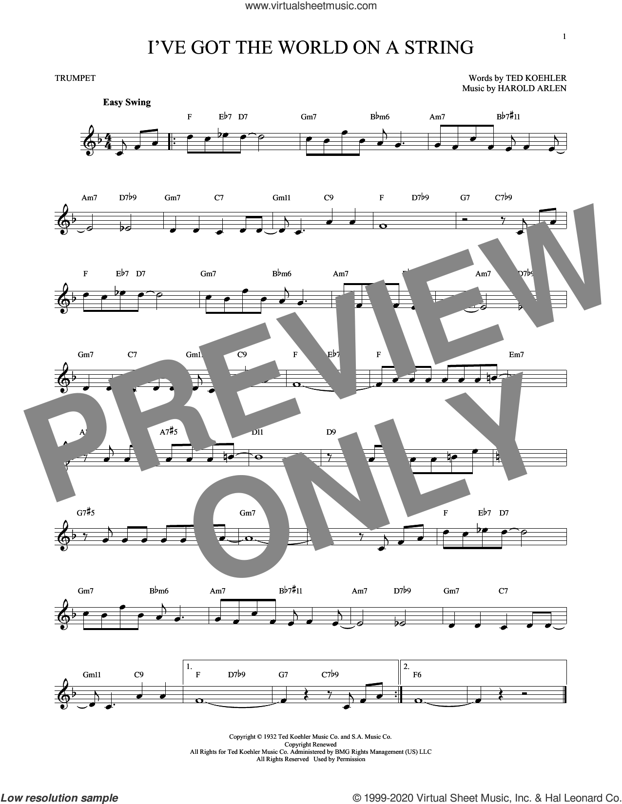I've Got The World On A String sheet music for trumpet solo by Harold Arlen, Dick Hyman and Ted Koehler, intermediate skill level