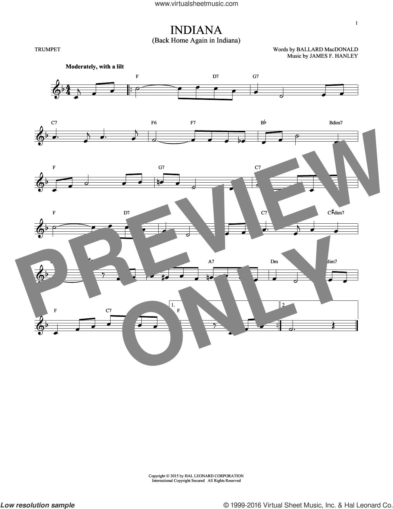 Indiana (Back Home Again In Indiana) sheet music for trumpet solo by Ballard MacDonald and James Hanley, intermediate skill level