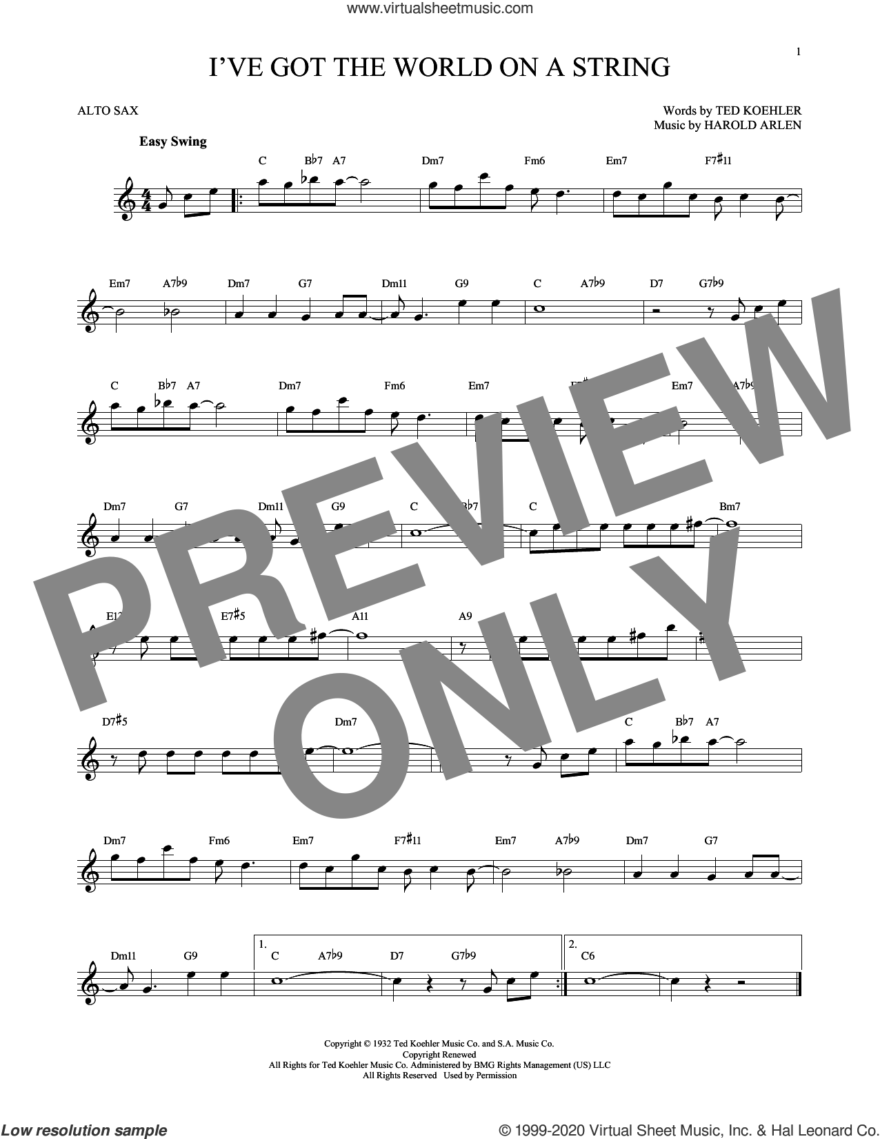 I've Got The World On A String sheet music for alto saxophone solo by Harold Arlen, Dick Hyman and Ted Koehler, intermediate skill level