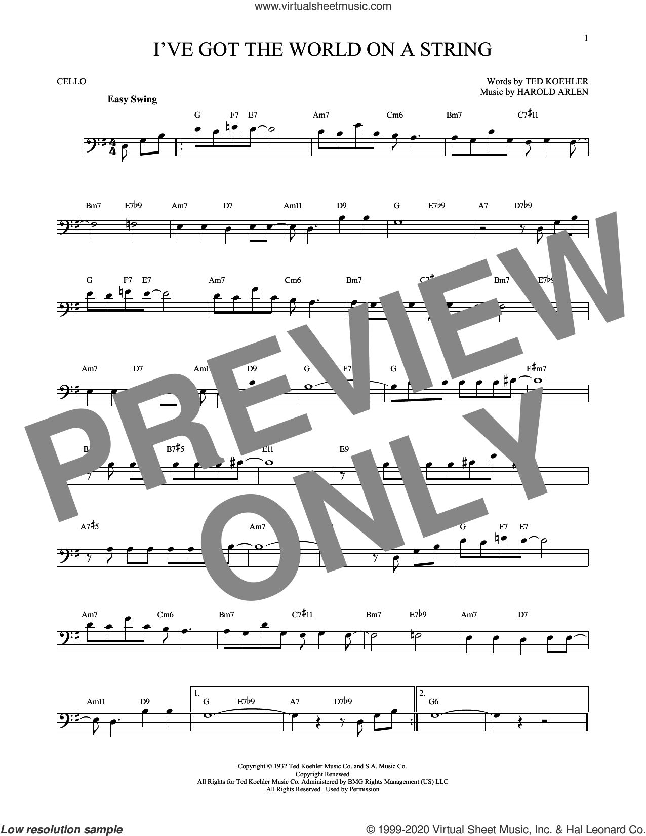 I've Got The World On A String sheet music for cello solo by Harold Arlen, Dick Hyman and Ted Koehler, intermediate skill level
