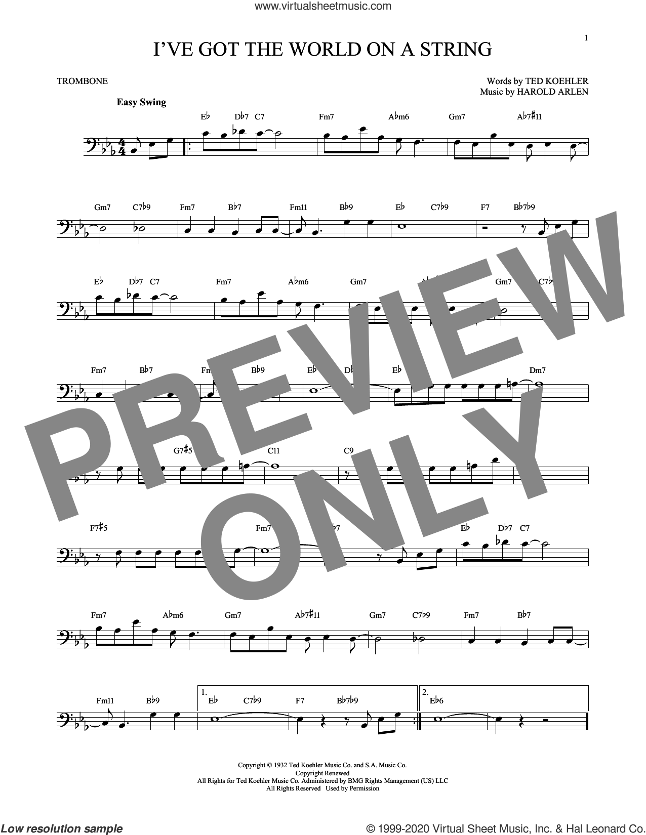 I've Got The World On A String sheet music for trombone solo by Harold Arlen, Dick Hyman and Ted Koehler, intermediate skill level