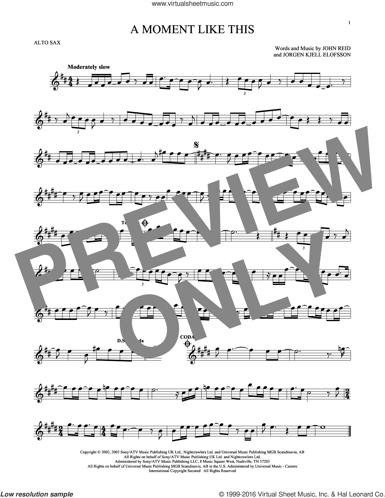 A Moment Like This sheet music for alto saxophone solo by Kelly Clarkson, John Reid and Jorgen Elofsson, intermediate