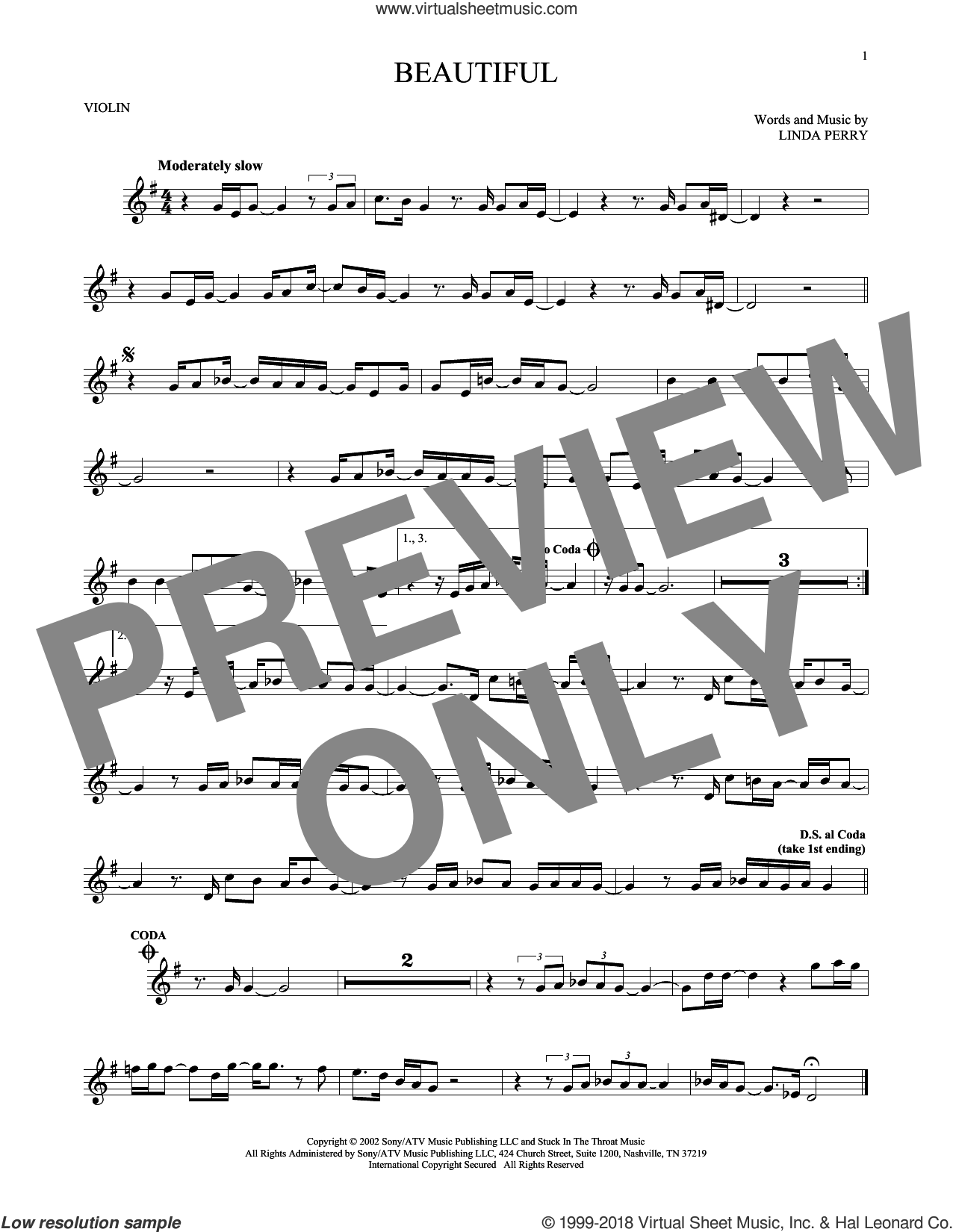 Beautiful sheet music for violin solo by Linda Perry, Christina Aguilera and Christina Aguilera & Beverly McClellan. Score Image Preview.