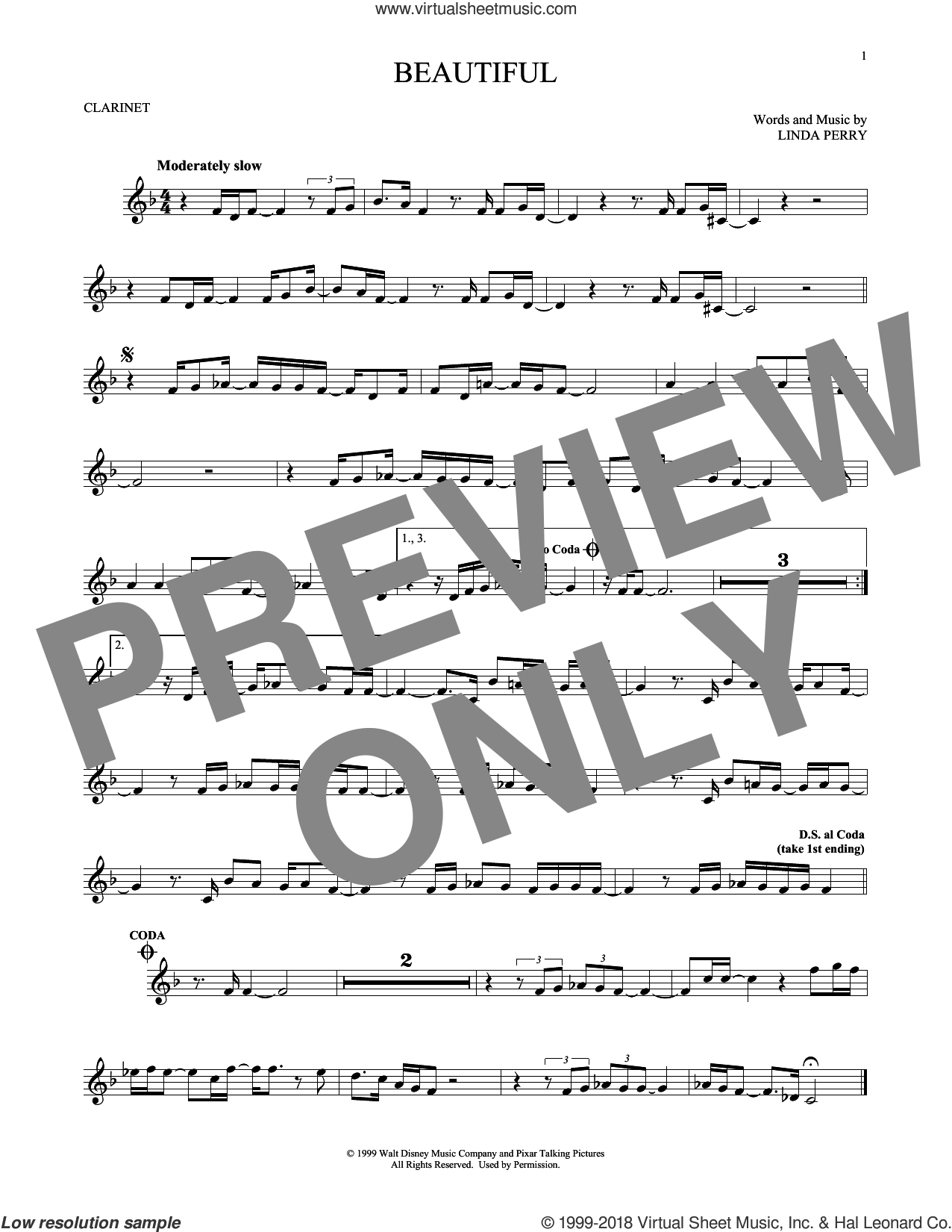 Beautiful sheet music for clarinet solo by Christina Aguilera, Christina Aguilera & Beverly McClellan and Linda Perry, intermediate skill level
