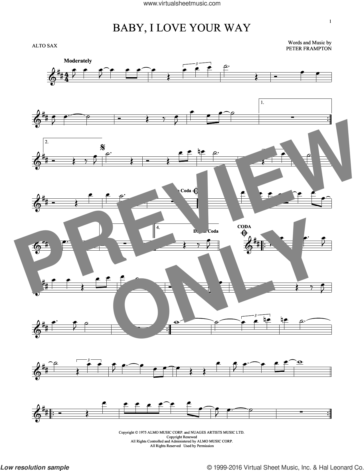 Baby, I Love Your Way sheet music for alto saxophone solo by Peter Frampton. Score Image Preview.