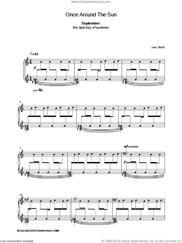 September (from Once Around The Sun) sheet music for piano solo by Joby Talbot