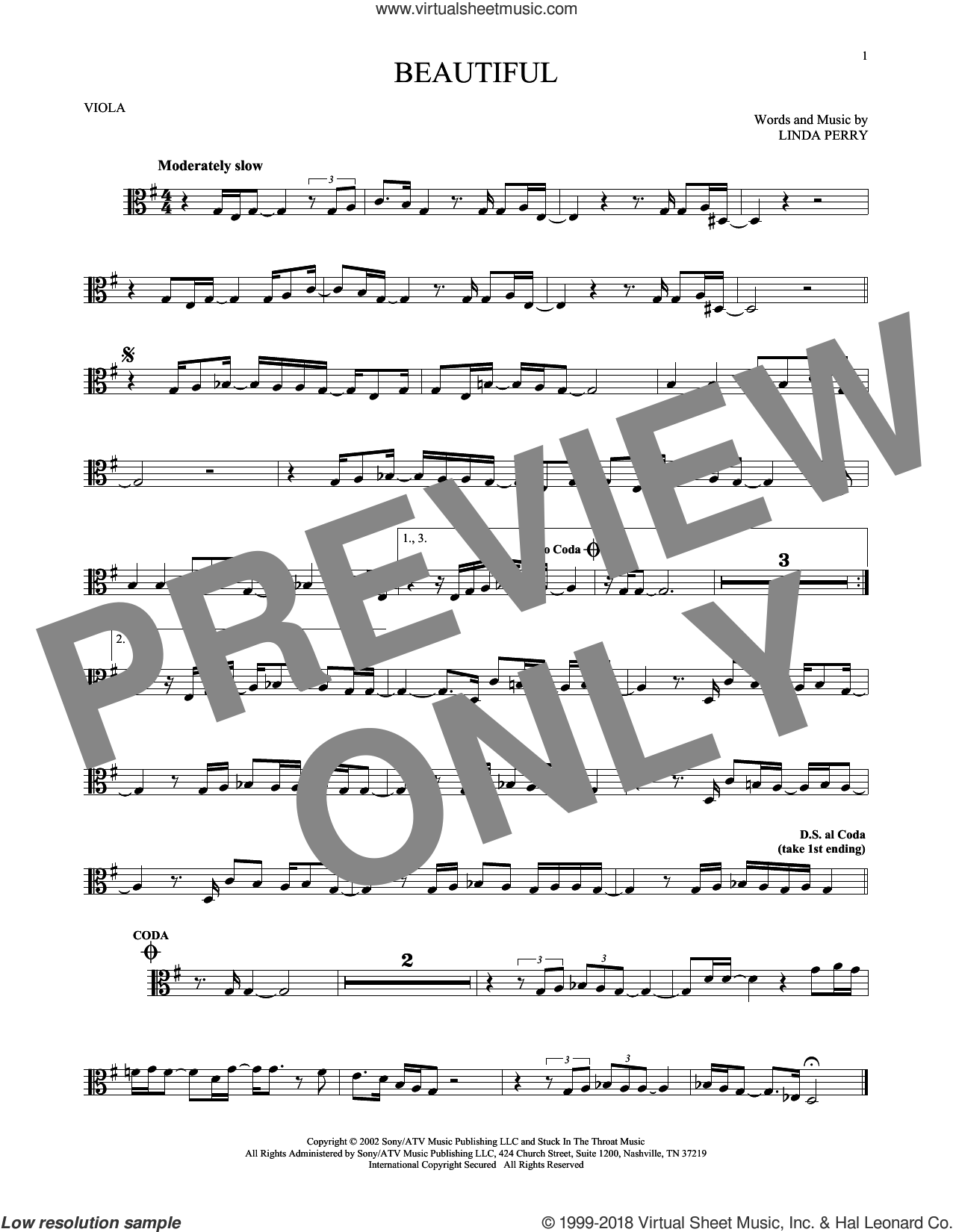 Beautiful sheet music for viola solo by Linda Perry, Christina Aguilera and Christina Aguilera & Beverly McClellan. Score Image Preview.