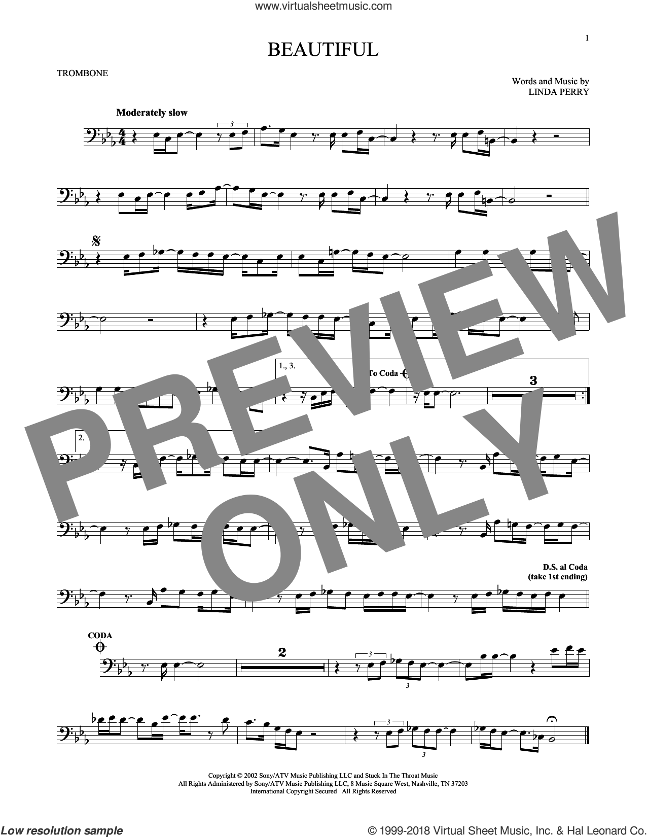 Beautiful sheet music for trombone solo by Christina Aguilera, Christina Aguilera & Beverly McClellan and Linda Perry, intermediate. Score Image Preview.