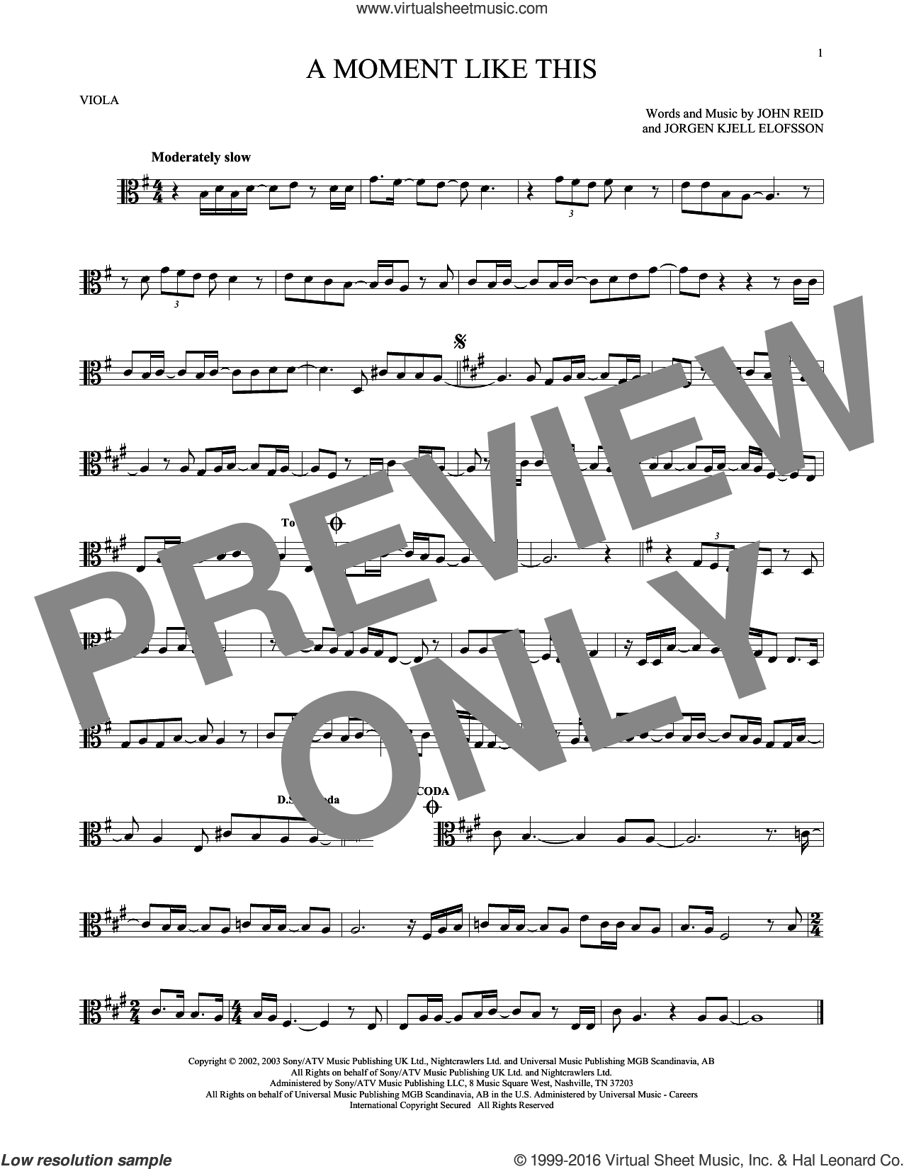 A Moment Like This sheet music for viola solo by Kelly Clarkson, John Reid and Jorgen Elofsson, intermediate. Score Image Preview.