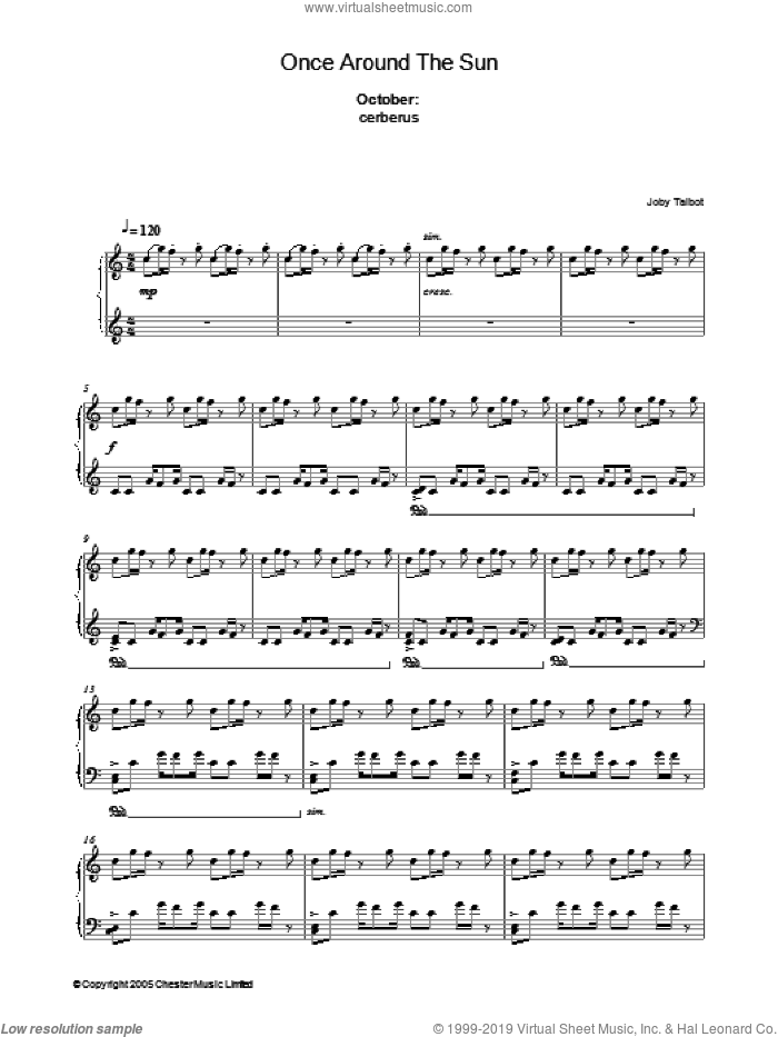 October (from Once Around The Sun) sheet music for piano solo by Joby Talbot. Score Image Preview.