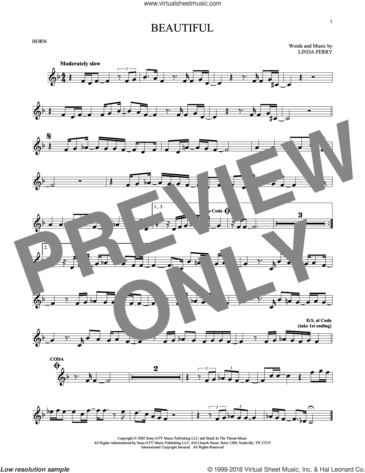Beautiful sheet music for horn solo by Christina Aguilera, Christina Aguilera & Beverly McClellan and Linda Perry, intermediate skill level