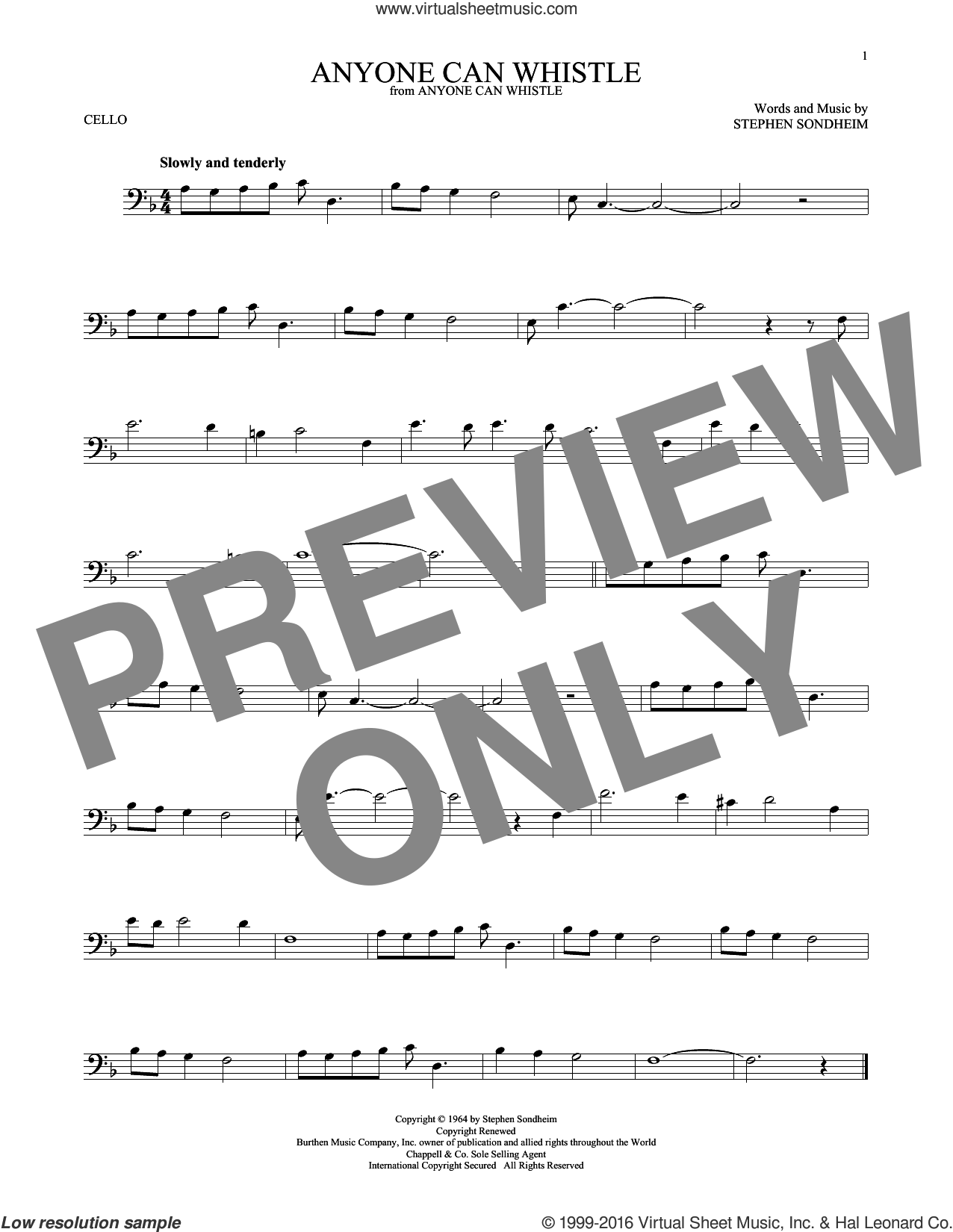 Anyone Can Whistle sheet music for cello solo by Stephen Sondheim, intermediate skill level