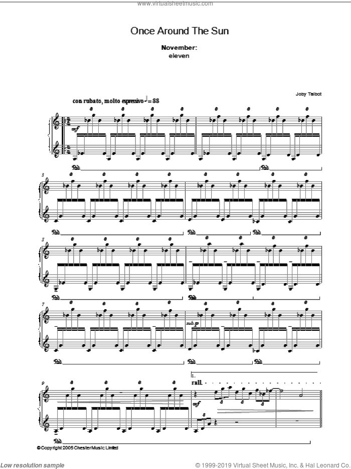 November (from Once Around The Sun) sheet music for piano solo by Joby Talbot