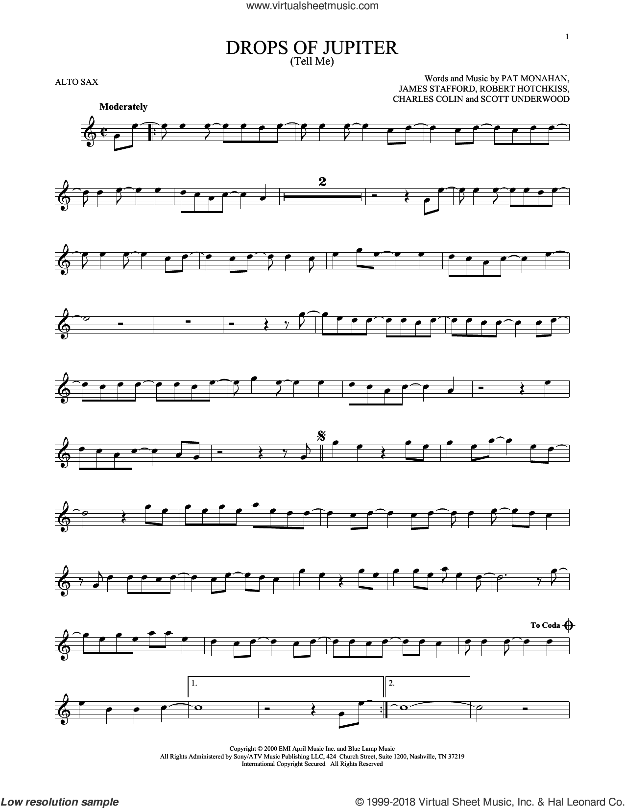 Drops Of Jupiter (Tell Me) sheet music for alto saxophone solo by Train, Charles Colin, James Stafford, Pat Monahan, Robert Hotchkiss and Scott Underwood, intermediate skill level