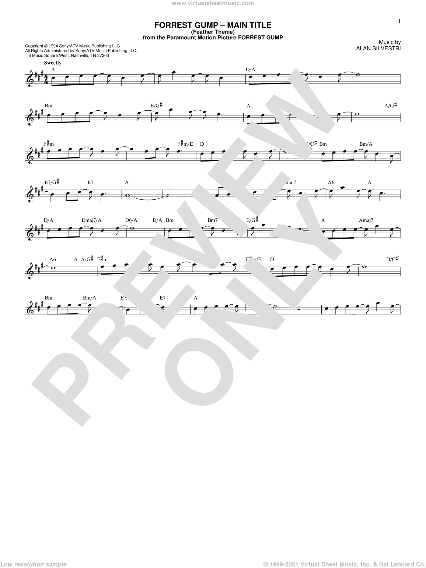 Forrest Gump - Main Title (Feather Theme) sheet music for voice and other instruments (fake book) by Alan Silvestri, intermediate skill level