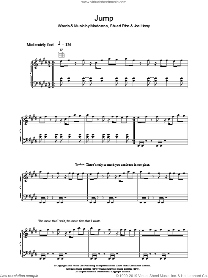 Jump sheet music for voice, piano or guitar by Joe Henry, Madonna and Stuart Price. Score Image Preview.