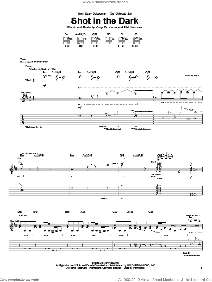 Shot In The Dark sheet music for guitar (tablature) by Ozzy Osbourne and Phil Soussan, intermediate skill level