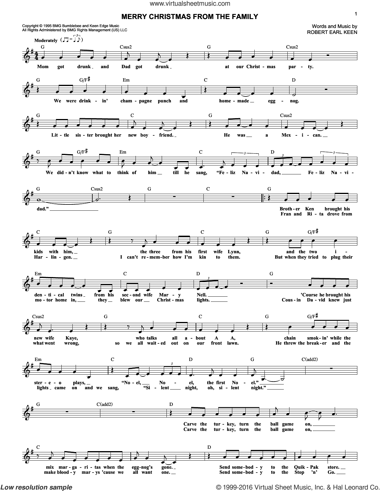 Merry Christmas From The Family sheet music for voice and other instruments (fake book) by Robert Earl Keen, intermediate skill level