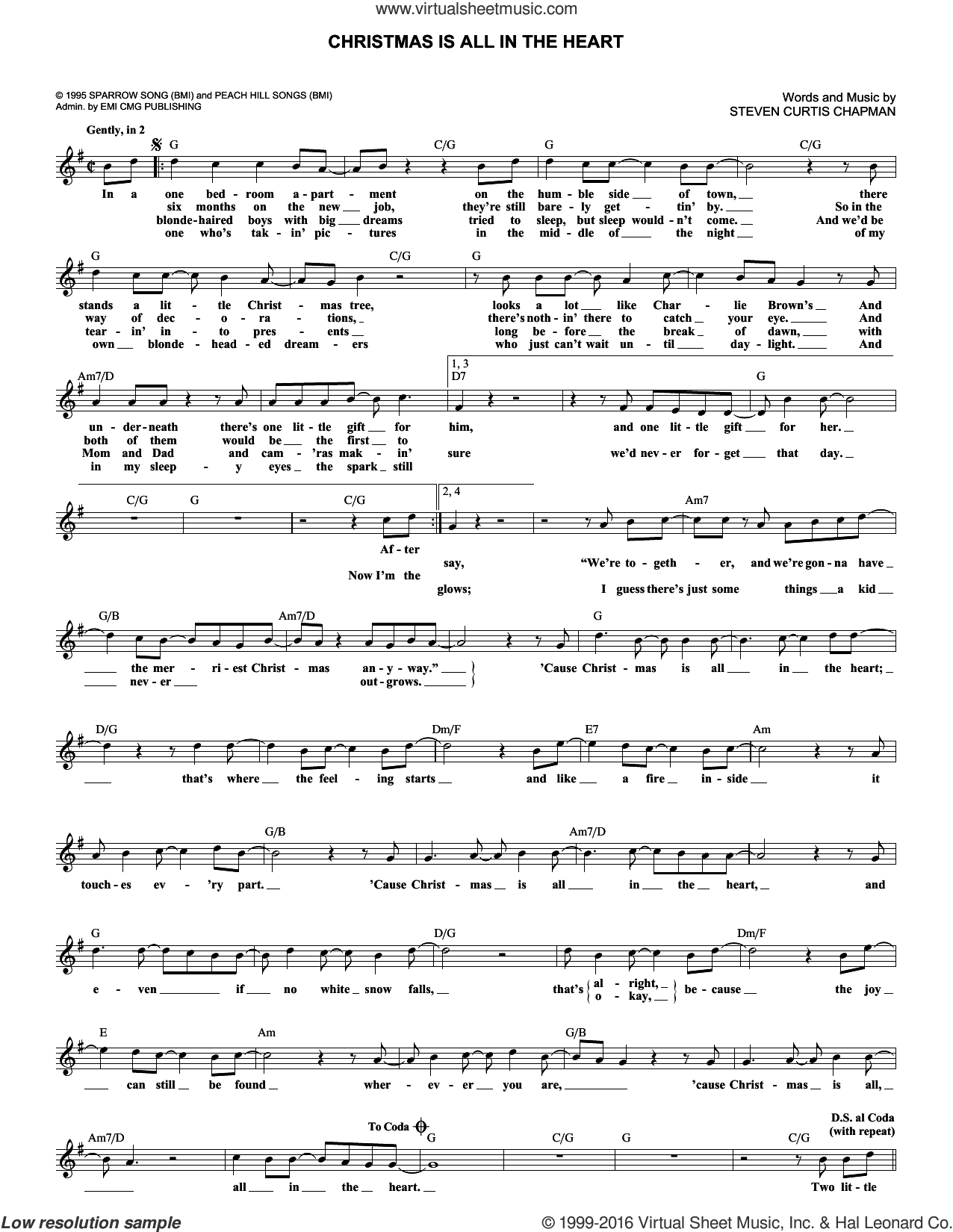 Christmas Is All In The Heart sheet music for voice and other instruments (fake book) by Steven Curtis Chapman, Christmas carol score, intermediate voice. Score Image Preview.
