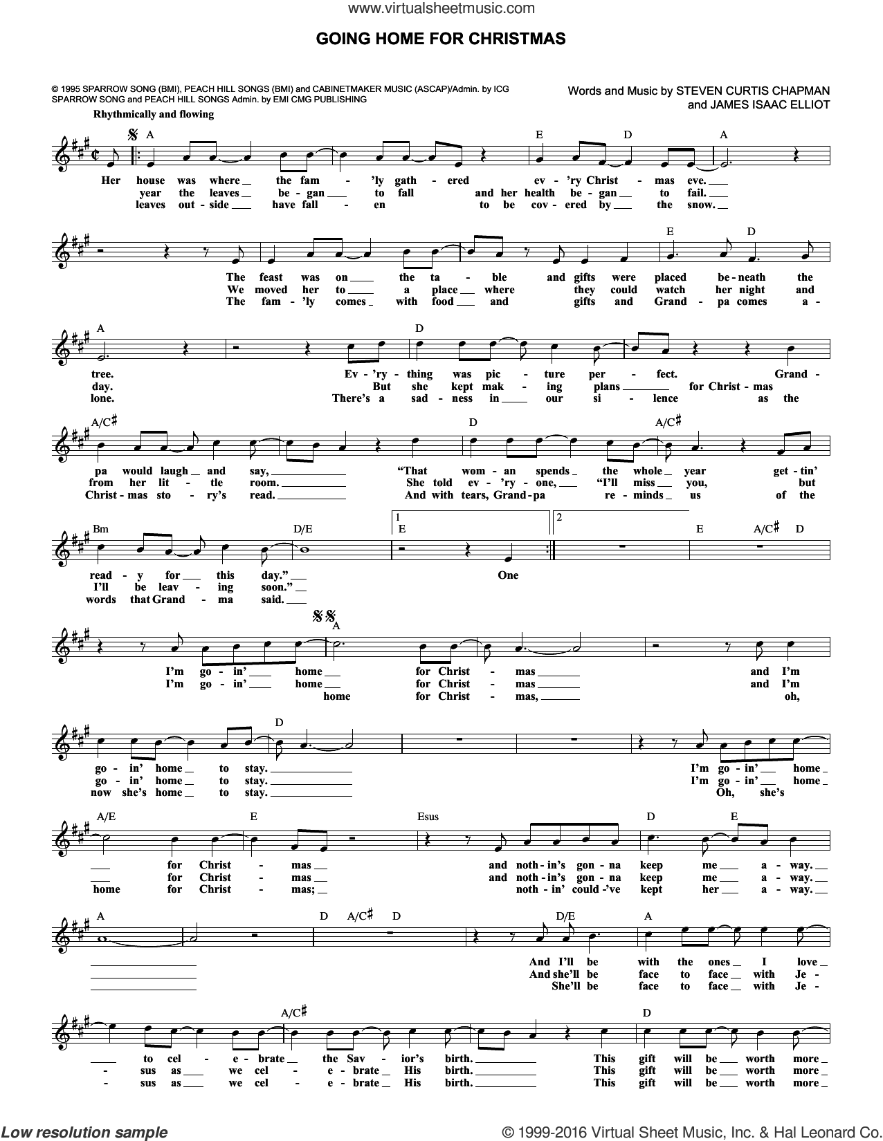 Going Home For Christmas sheet music for voice and other instruments (fake book) by James Isaac Elliott and Steven Curtis Chapman. Score Image Preview.