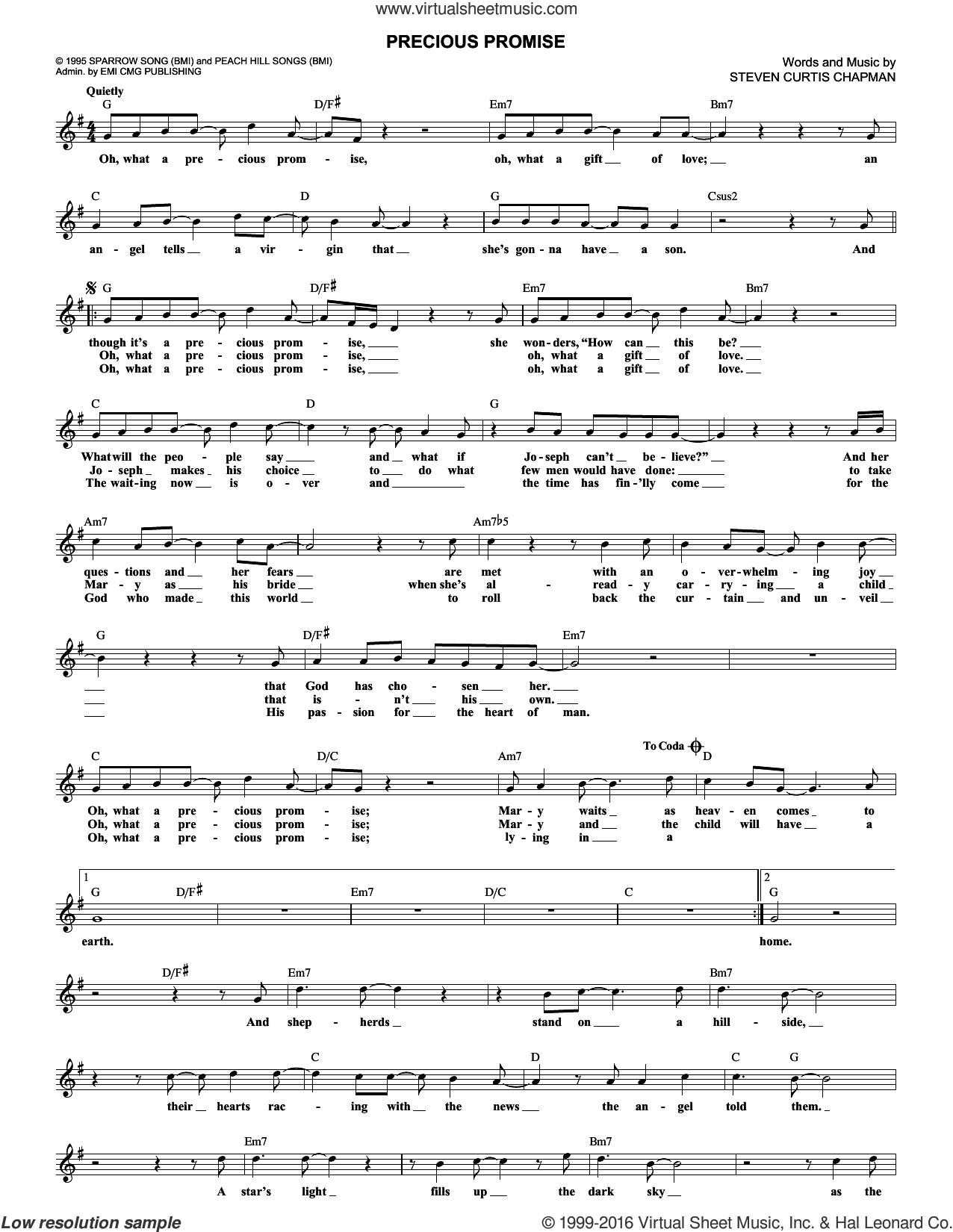 Precious Promise sheet music for voice and other instruments (fake book) by Steven Curtis Chapman, intermediate skill level
